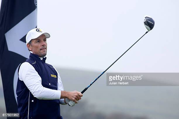 David Higgins of Waterville Golf Links plays his first shot on the 1st tee during day two of The 2016 PGA PlayOffs on October 25 2016 in Braunton...