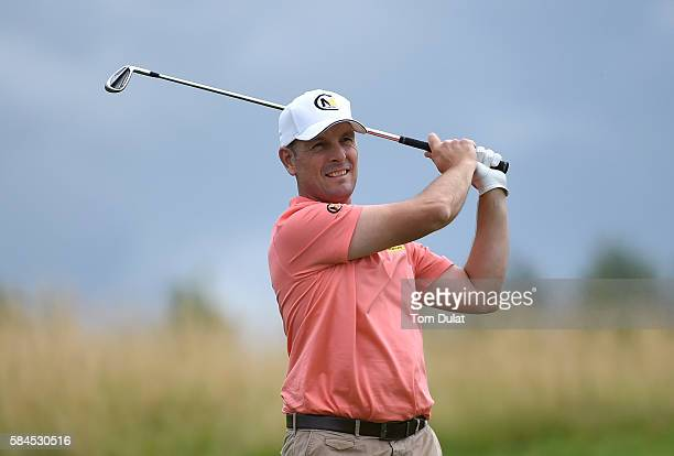 David Higgins of Waterville Golf Links takes a shot form the 8th fairway during day four of the PGA Professional Championship at The Oxfordshire Golf...