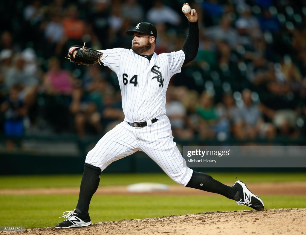 David Holmberg #64 of the Chicago White Sox pitches in relief during the eighth inning against the Toronto Blue Jays at Guaranteed Rate Field on August 1, 2017 in Chicago, Illinois.