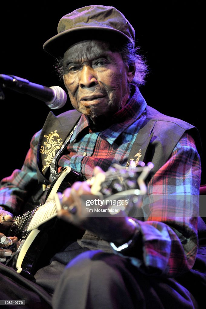 David 'Honeyboy' Edwards performs as part of the Blues at the Crossroads Tribute to Robert Johnson at The Regency Ballroom on January 28, 2011 in San Francisco, California.