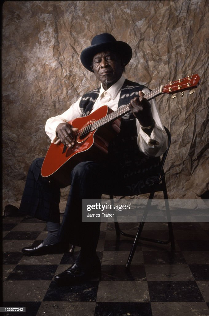 David Honeyboy Edwards poses for a portrait at The Blues Masters at the Crossroads concert in 1998 in Salina, KS, USA.