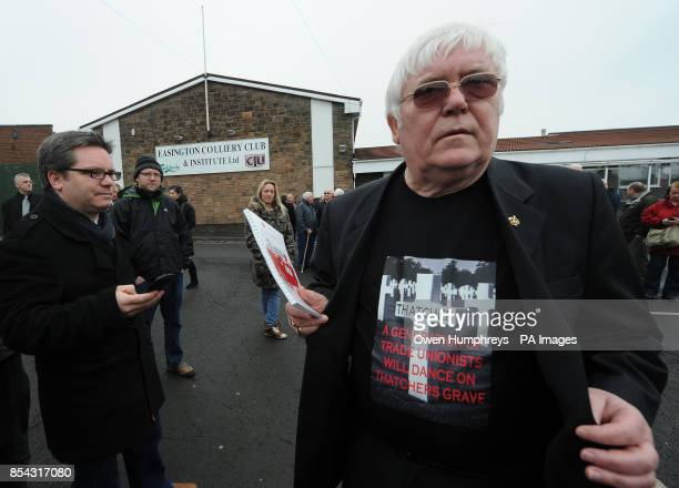 David Hopper Durham Miners Association General secretary arrives at Easington Colliery club for today's gathering as the funeral of Baroness Thatcher...