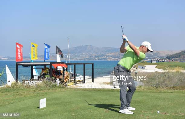 David Horesy of England plays a shot on the 15th hole during the second round of The Rocco Forte Open at The Verdura Golf and Spa Resort on May 19...