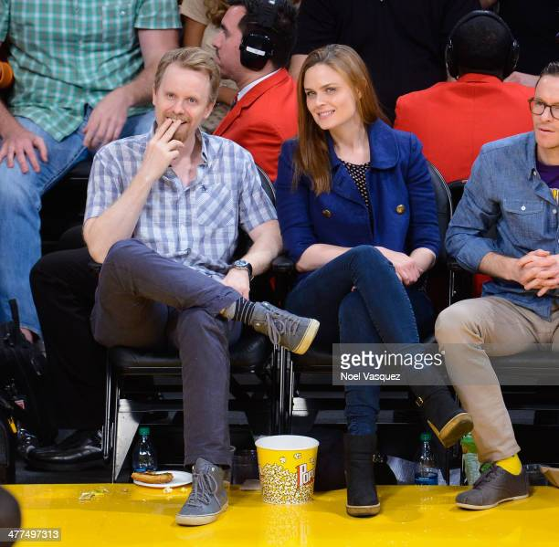 David Hornsby and Emily Deschanel attend a basketball game between the Oklahoma City Thunder and the Los Angeles Lakers at Staples Center on March 9...