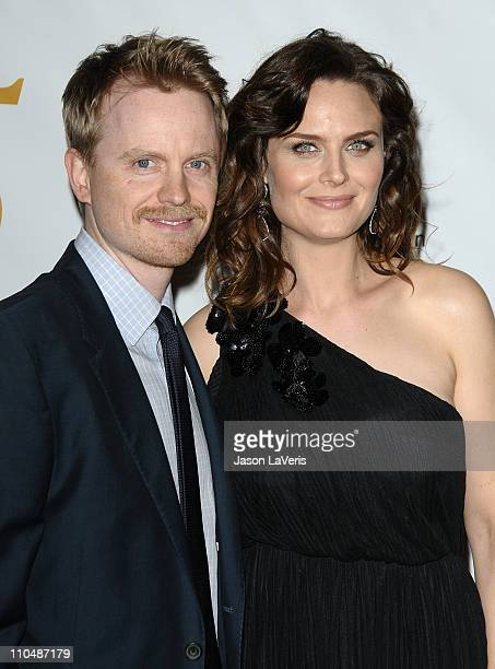David Hornsby and Emily Deschanel attend the Humane Society's 25th annual Genesis Awards at the Hyatt Regency Century Plaza on March 19 2011 in...