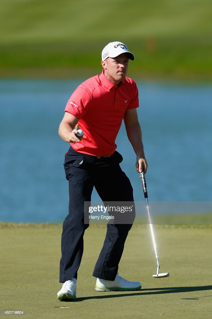 David Horsey of England acknowledges the spectators after finishing on the eighteenth on day three of the M2M Russian Open at Tseleevo Golf & Polo Club on July 26, 2014 in Moscow, Russia.