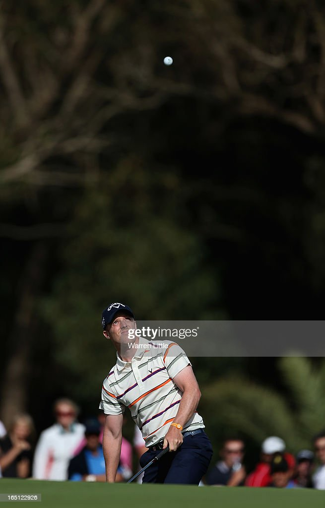 David Horsey of England chips onto the 17th green during the final round of the Trophee du Hassan II Golf at Golf du Palais Royal on March 31, 2013 in Agadir, Morocco.