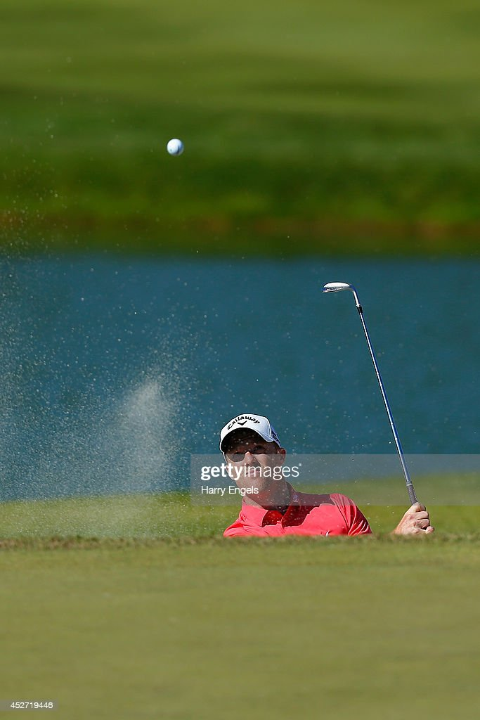 David Horsey of England chips out of a bunker at the eighteenth on day three of the M2M Russian Open at Tseleevo Golf & Polo Club on July 26, 2014 in Moscow, Russia.