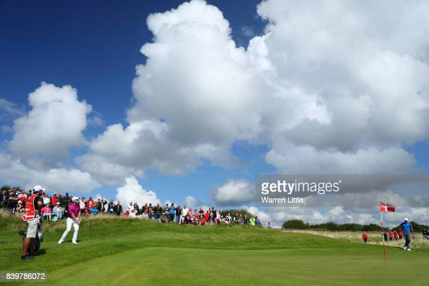 David Horsey of England chips to the 3rd green during the final round of Made in Denmark at Himmerland Golf Spa Resort on August 27 2017 in Aalborg...