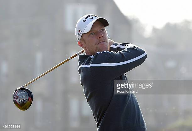 David Horsey of England drives off the second tee during final round of the 2015 Alfred Dunhill Links Championship at The Old Course on October 4...