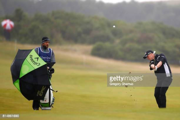David Horsey of England hits an approach shot on the 3rd hole during day three of the AAM Scottish Open at Dundonald Links Golf Course on July 15...