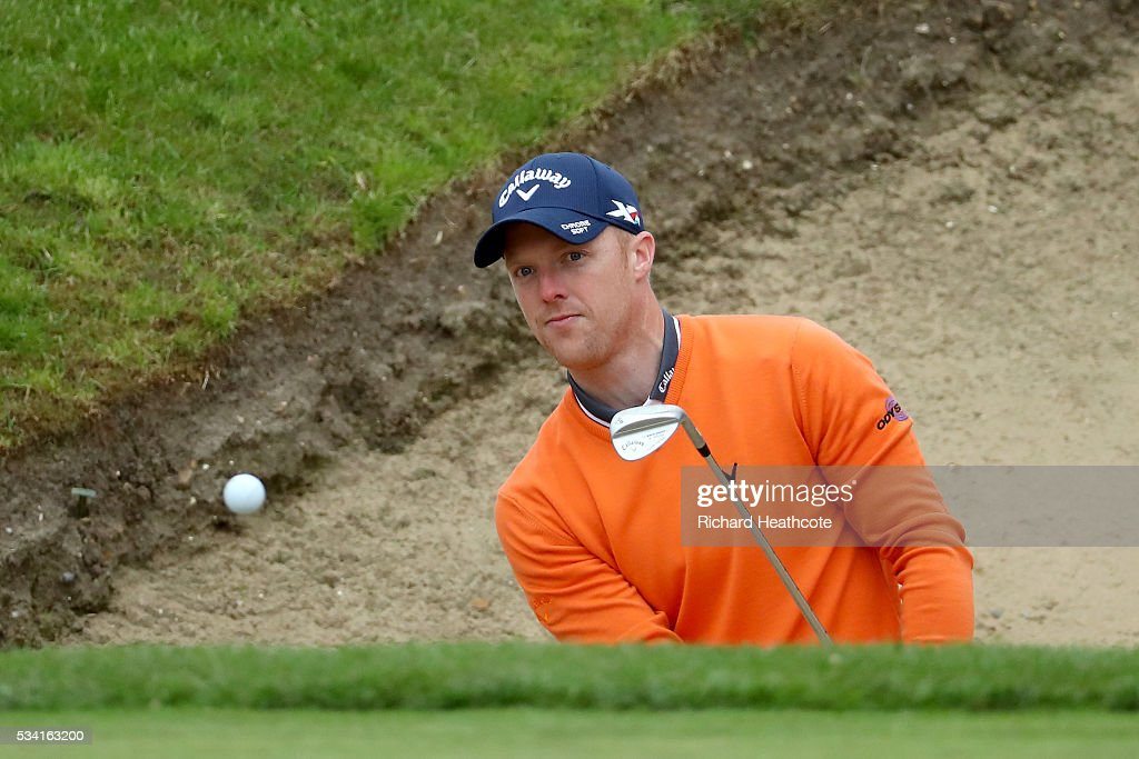 <a gi-track='captionPersonalityLinkClicked' href=/galleries/search?phrase=David+Horsey&family=editorial&specificpeople=776403 ng-click='$event.stopPropagation()'>David Horsey</a> of England hits from a bunker during the Pro-Am prior to the BMW PGA Championship at Wentworth on May 25, 2016 in Virginia Water, England.