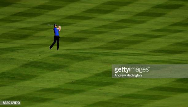 David Horsey of England hits his second shot on the 9th hole during day one of the British Masters at Close House Golf Club on September 28 2017 in...