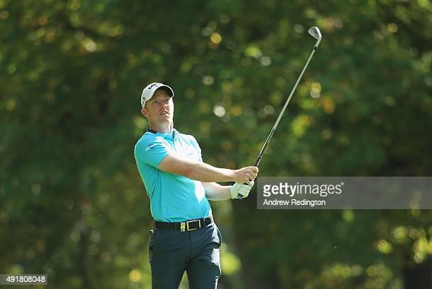 David Horsey of England in action during the first round of the British Masters supported by Sky Sports at Woburn Golf Club on October 8 2015 in...