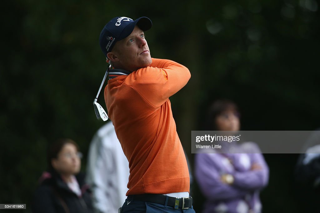<a gi-track='captionPersonalityLinkClicked' href=/galleries/search?phrase=David+Horsey&family=editorial&specificpeople=776403 ng-click='$event.stopPropagation()'>David Horsey</a> of England in action during the Pro-Am prior to the BMW PGA Championship at Wentworth on May 25, 2016 in Virginia Water, England.