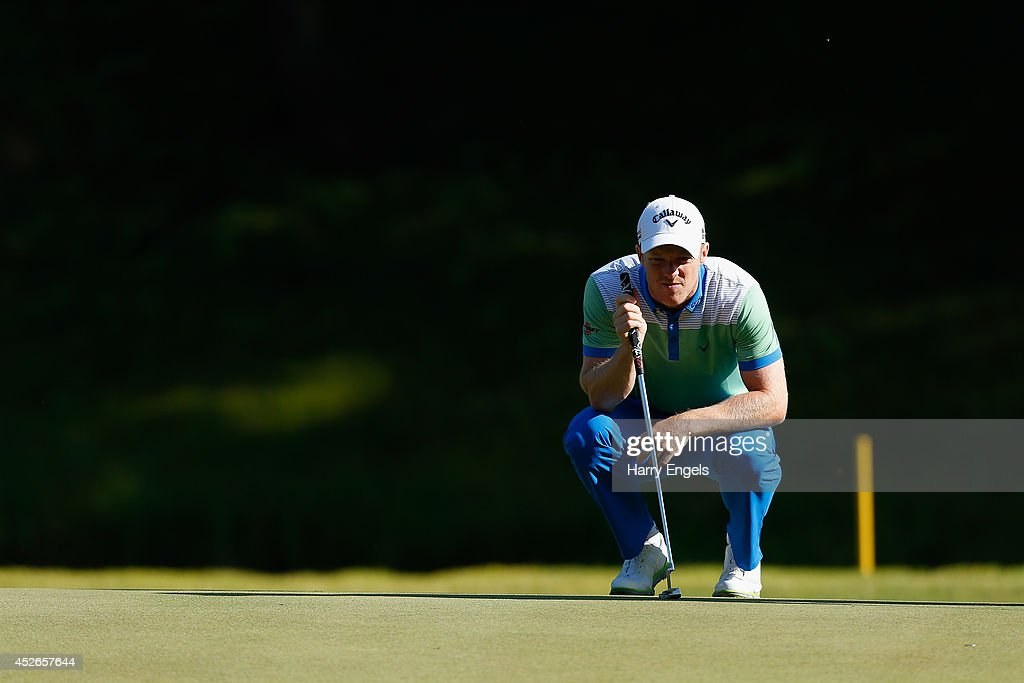 <a gi-track='captionPersonalityLinkClicked' href=/galleries/search?phrase=David+Horsey&family=editorial&specificpeople=776403 ng-click='$event.stopPropagation()'>David Horsey</a> of England lines up a putt at the tenth on day two of the M2M Russian Open at Tseleevo Golf & Polo Club on July 25, 2014 in Moscow, Russia.