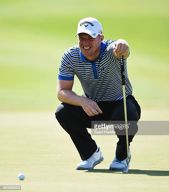 David Horsey of England lines up a putt during the third round of the Made in Denmark at Himmerland Golf Spa Resort on August 22 2015 in Aalborg...