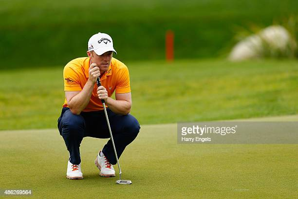 David Horsey of England lines up a putt on the tenth hole on day one of the M2M Russian Open at Skolkovo Golf Club on September 3 2015 in Moscow...