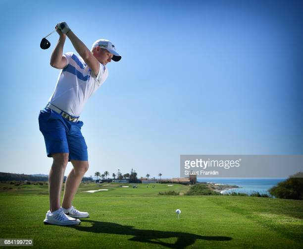 David Horsey of England plays a shot during practice prior to the start of The Rocco Forte Open at Verdura Golf and Spa Resort on May 17 2017 in...