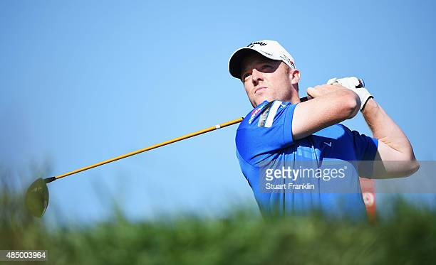David Horsey of England plays a shot during the final round of the Made in Denmark at Himmerland Golf Spa Resort on August 23 2015 in Aalborg Denmark