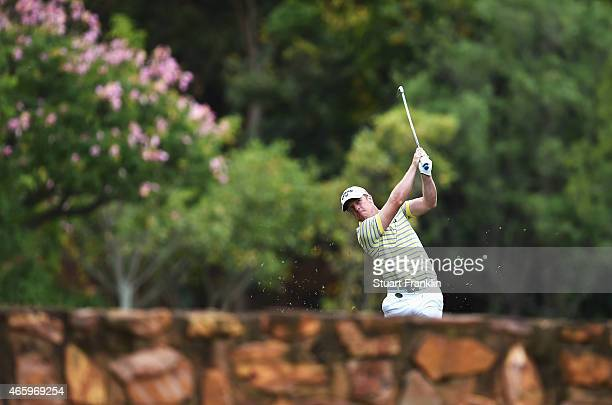 David Horsey of England plays a shot during the first round of the Tshwane Open at Pretoria Country Club on March 12 2015 in Pretoria South Africa