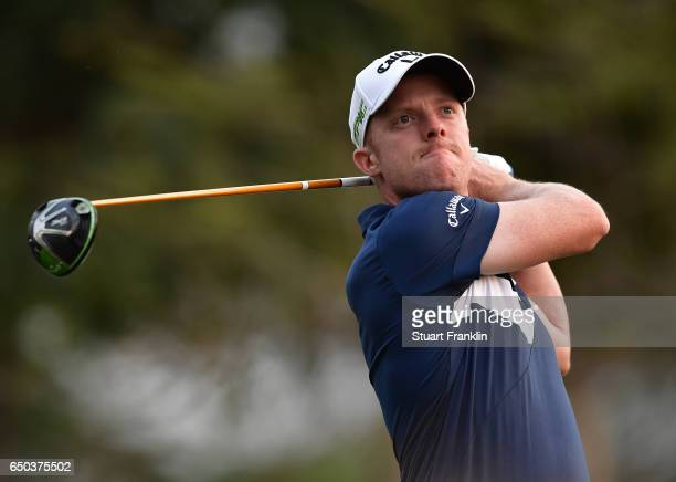 David Horsey of England plays a shot during the first round of the Hero Indian Open at Dlf Golf and Country Club on March 9 2017 in New Delhi India