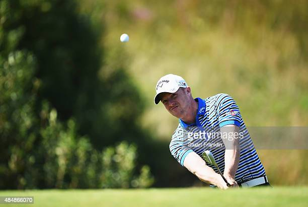 David Horsey of England plays a shot during the third round of the Made in Denmark at Himmerland Golf Spa Resort on August 22 2015 in Aalborg Denmark