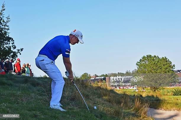David Horsey of England plays his approach shot on the 18th hole during the final round of the Made in Denmark at Himmerland Golf Spa Resort on...