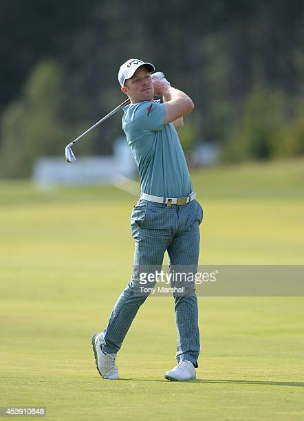David Horsey of England plays his second shot on the 12th fairway during day one of DD REAL Czech Masters at Albatross Golf Resort on August 21 2014...