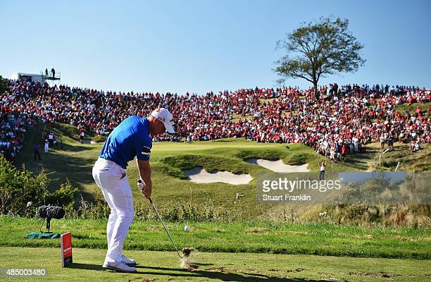 David Horsey of England plays his tee shot on the 16th hole during the final round of the Made in Denmark at Himmerland Golf Spa Resort on August 23...
