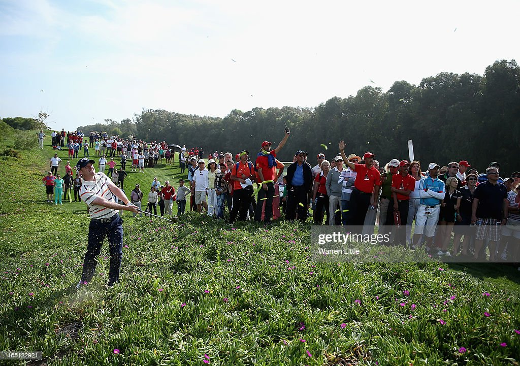 David Horsey of England plays out of the ice plant on the 15th hole during the final round of the Trophee du Hassan II Golf at Golf du Palais Royal on March 31, 2013 in Agadir, Morocco.