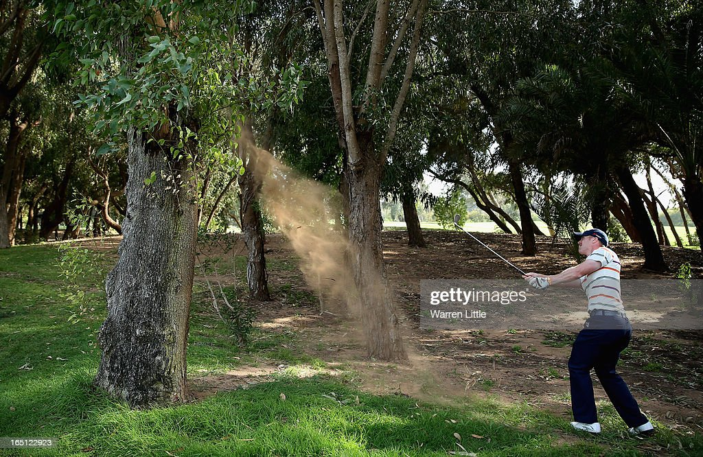 David Horsey of England plays out of the trees on the 18th hole during the final round of the Trophee du Hassan II Golf at Golf du Palais Royal on March 31, 2013 in Agadir, Morocco.