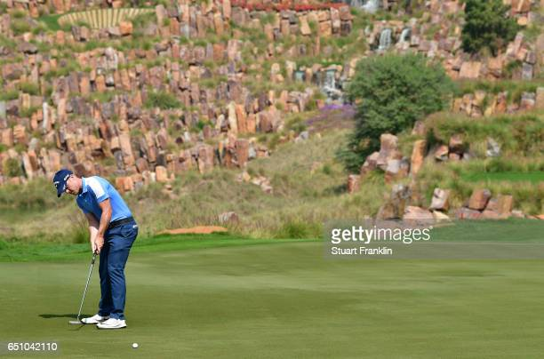 David Horsey of England putts during the second round of the Hero Indian Open at Dlf Golf and Country Club on March 10 2017 in New Delhi India