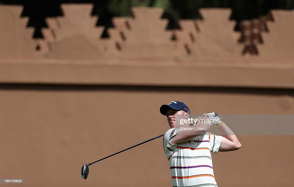David Horsey of England tees off on the 10th hole during the final round of the Trophee du Hassan II Golf at Golf du Palais Royal on March 31, 2013 in Agadir, Morocco.