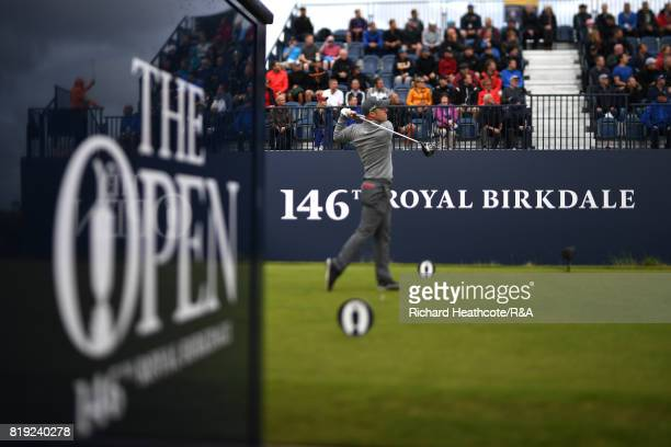 David Horsey of England tees off on the 1st hole during the first round of the 146th Open Championship at Royal Birkdale on July 20 2017 in Southport...