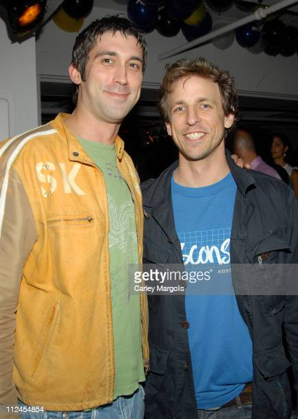 David Howell and Seth Meyers during Blender Magazine 5th Anniversary Blowout at Studio 450 in New York City New York United States