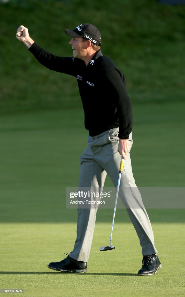 <a gi-track='captionPersonalityLinkClicked' href=/galleries/search?phrase=David+Howell&family=editorial&specificpeople=201681 ng-click='$event.stopPropagation()'>David Howell</a> of England celebrates after holing his putt on the 18th green during the second playoff hole against Peter Uihlein of the USA during the final round of the Alfred Dunhill Links Championship on The Old Course, at St Andrews on September 29, 2013 in St Andrews, Scotland.