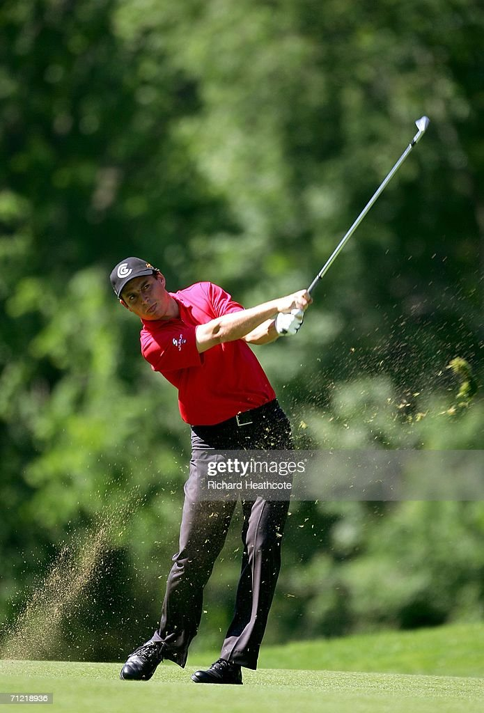 David Howell of England hits his approach on the 14th hole during the second round of the 2006 US Open Championship at Winged Foot Golf Club on June...