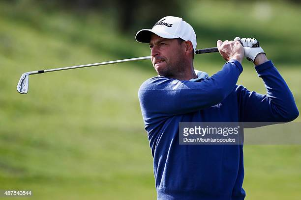 David Howell of England hits his second shot on the 1st hole during Day 1 of the KLM Open held at Kennemer G CC on September 10 2015 in Zandvoort...