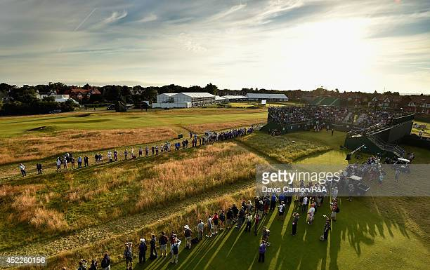 David Howell of England hits the first shot of the Championships on the first hole during the first round of The 143rd Open Championship at Royal...