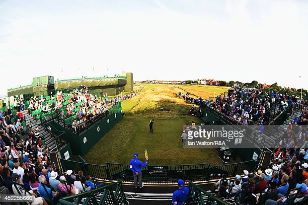 David Howell of England hits the first tee shot during the first round of The 143rd Open Championship at Royal Liverpool on July 17 2014 in Hoylake...