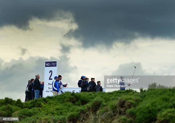 David Howell of England in action during the second day of the Saltire Energy Paul Lawrie Matchplay at Murcar Links Golf Club on July 31 2015 in...