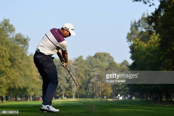 David Howell of England plays a shot during day three of the 2017 Italian Open at Golf Club Milano Parco Reale di Monza on October 14 2017 in Monza...