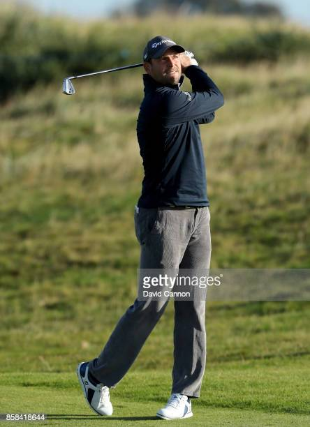 David Howell of England plays a shot during the second round of the 2017 Alfred Dunhill Links Championship on the Championship Links at Carnoustie on...