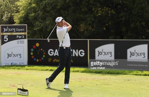 David Howell of England plays a shot on the 5th hole during the second day of the Joburg Open at Randpark Golf Club on December 8 2017 in...