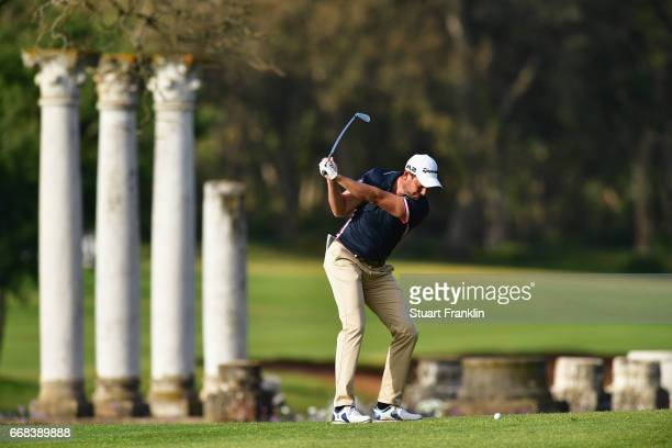 David Howell of England plays from a fairway during day 2 of the Trophee Hassan II at Royal Golf Dar Es Salam on April 14 2017 in Rabat Morocco