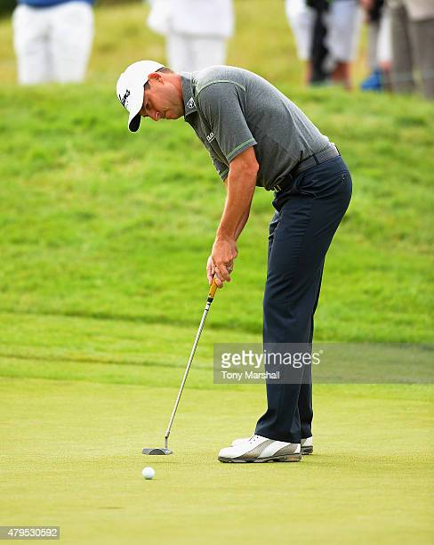 David Howell of England putts on the 3rd green during the Alstom Open de France Day Four at Le Golf National on July 5 2015 in Paris France