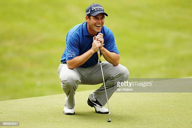 David Howell of England reacts to a shot during the ProAm round prior to the BMW PGA Championship on the West Course at Wentworth on May 19 2010 in...