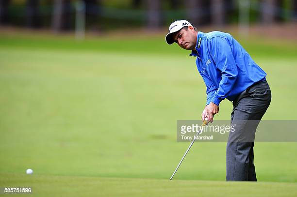 David Howell of England takes a shot onto the green on hole 2 on day one of the Aberdeen Asset Management Paul Lawrie Matchplay at Archerfield Links...
