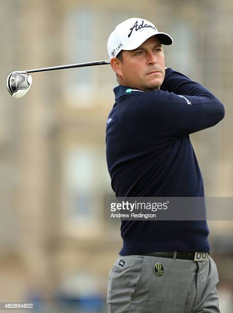 David Howell of England tees off on the 2nd hole during the first round of the 144th Open Championship at The Old Course on July 16 2015 in St...